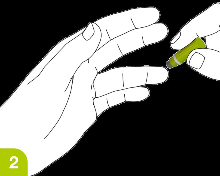 Aplicación SafetyLancet: coloque SafetyLancet en el dedo