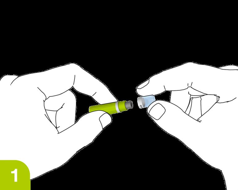 Seguridad de la aplicación Lancetas: gire y retire la tapa protectora